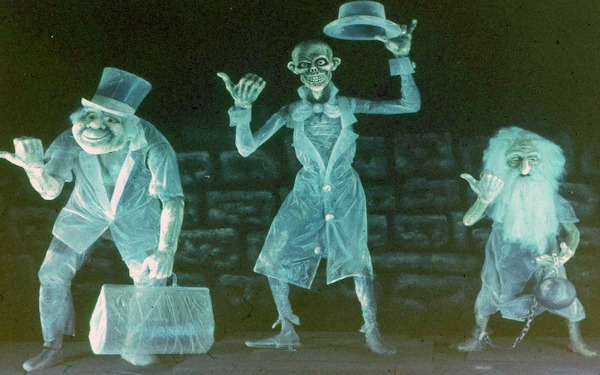Picture of the three hitchhiking ghosts from Disney's Haunted Mansion
