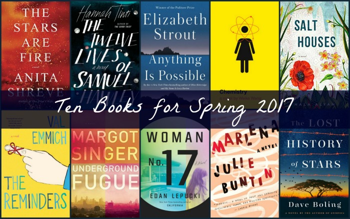 Collage of Ten Books for Spring 2017 from novel Visits.